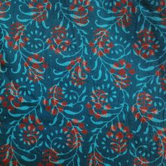 Indian Cotton Fabric - Indian Block Print Fabric in Teal and Red - Organic Cotton Fabric by Yard