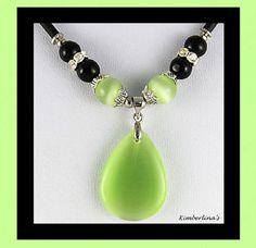 NEW - LIGHT GREEN HEART TEARDROP GLASS STONE BEADED BLACK CORD PENDANT NECKLACE #Pendant