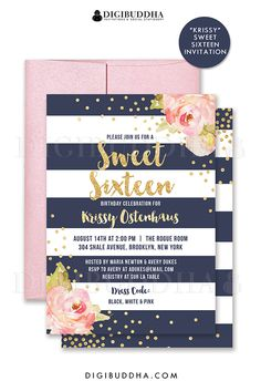 Navy and gold Sweet Sixteen birthday invitations with boho chic pink watercolor peonies and gold glitter confetti dots. Choose from ready made printed invitations with envelopes or printable sweet 16 birthday invitations. Rose shimmer envelopes also available. digibuddha.com