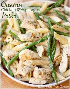 Creamy Chicken and Asparagus Pasta recipe from TastesBetterFromScratch.com