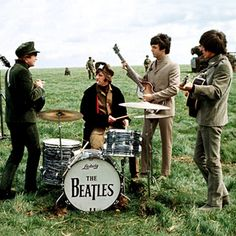 Beatles on the Salisbury Plain (near Stonehenge) during the making of their second feature film 'Help!' (1965)
