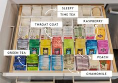 Khloé Kardashian's Tea Drawer Is Crazy (In The Best Way) - Khloe Kardashian Home Organisation – Organized Drawers Kitchen Organization, Organization Hacks, Bedside Table Organization, Organizing Paperwork, Casa Da Kris Jenner, Tea Station, Tea Storage, Inspirational Artwork, Organization Ideas