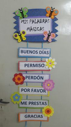 its written here magic words like please thank you .but we could write biblical Spanish Classroom Decor, Bilingual Classroom, Bilingual Education, Classroom Rules, Kids Education, Classroom Organization, Classroom Management, Class Decoration, School Decorations
