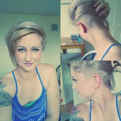 Fun hair ideas. Half shaved side, blonde, short hair. Shaved hair on one side