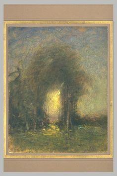 Paysage au Soleil Couchant, aquarelle, 26,5 x 21 cm, Musée du Louvre, Département des Arts Graphiques à Paris.