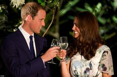 Cheers: The Royal couple make a toast with water in honour of Queen Elizabeth's Diamond Jubilee at a British Gala reception, shortly after Wills said he wanted two children