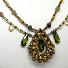 gwenbeads Paisley Tourmaline Necklace with Two Strands of Sparkling Gems.