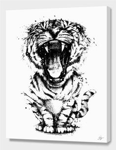 """""""Meowr in Black"""", Limited Edition Canvas Print by cj del rosario - From $110.00 - Curioos"""
