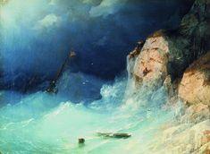Shipwreck 1864 58h78. Ivan Konstantinovich Aivazovsky