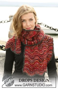 "crochet edgings design DROPS scarf with wave pattern in ""Fabel"". Crochet edge in ""Alpaca"" ~ DROPS Design - Sweater Knitting Patterns, Free Knitting, Crochet Designs, Crochet Patterns, Magazine Drops, Drops Patterns, Drops Design, Striped Scarves, Lace Scarf"