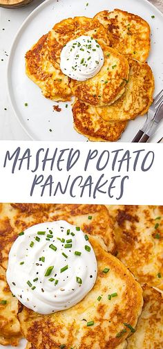 These delicious potato pancakes are made from leftover mashed potatoes and are quick  easy to make. Perfect after Thanksgiving Gluten free option Leftover Mashed Potato Pancakes, Vegan Mashed Potatoes, Sweet Potato Pancakes, Mashed Potato Recipes, Fried Potatoes, Recipe For Potato Pancakes, Pancakes Easy, Vegetarian Pancakes, Vegetarian Recipes