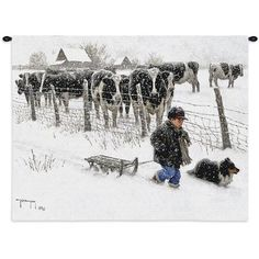 What a perfect day for a sled ride. This little boy all bundled up is dragging his sled to the nearest hill. Hi dog tags along to see the action. Curious cows look on to see what is going on. Robert Duncan captures the innocence of youth. Weaving Art, Tapestry Weaving, Tapestry Wall Hanging, Robert Duncan, Country Farmhouse Decor, Farmhouse Interior, Country Living, Cotton Blankets, Throw Blankets