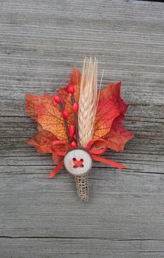 Rustic Maple Fall Wedding Boutonniere by TellableDesign on Etsy