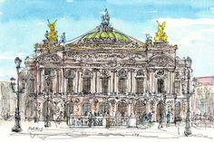 Impresión de un acuarela original de arte de ópera de París