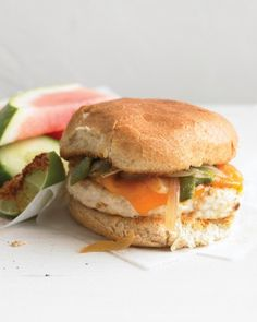 Chicken Burger with Roasted Poblano and Onion - This summer, cook up a spicier, zestier twist on the burger -- it's sure to become a new favorite. Poblano chiles add gentle heat to the topping.