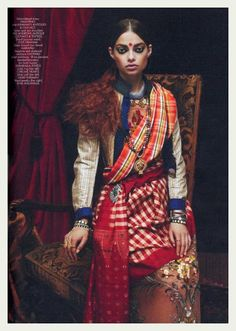 INDIA: Bold madras check and tribal jewelry