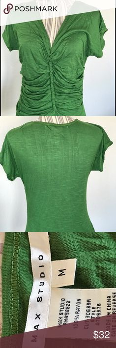 NWT Max Studio top Forest green, short sleeves with front ruching Max Studio Tops