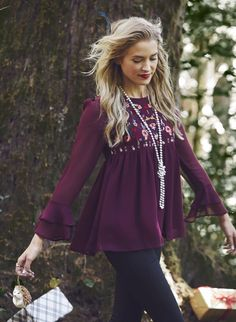 This embroidery top is perfect for your adventures this winter!