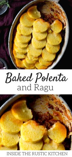 Baked polenta with beef and sausage ragu. A simple, comfort food recipe that's packed full of flavour. Creamy, smooth and cheesy polenta with a rich and delicious ragu. A great meal to keep you cozy. Italian recipes at Inside The Rustic Kitchen #comfortfoodrecipes #Italianfood via @InsideTRK