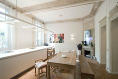 Like the color of the mouldings. Apartment in Paris by Feld Architecture