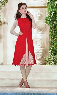 USD 72.05 Red Resham Work Faux Georgette Long Kurti    34967