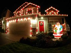 Candy Cane Lights Outdoors Christmas On Houses Exterior White