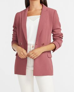Double Breasted Boyfriend Blazer | Express Everything Free, Express Coupons, Boyfriend Blazer, Young Professional, Casual Attire, Ankle Pants, Retail Therapy, Double Breasted, Suits