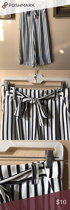 Black & White Stripe Wide-Leg Pants (Zara) Zara black & White wide-leg pants w/ front bow. Comes w/ front pockets. Size Medium. Only worn once or twice! Zara Pants Wide Leg