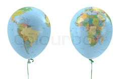 balloons with maps | Editorial image of 'Two balloons with a picture of the political map'