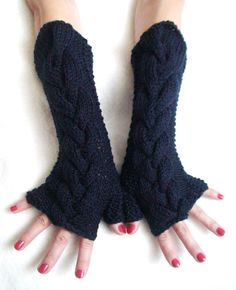 Arm Warmers Fingerless Glove Dark Blue Navy Acrylic by LaimaShop, $37.00