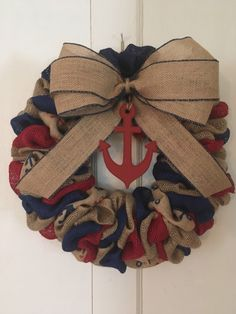 A personal favorite from my Etsy shop https://www.etsy.com/listing/511549201/nautical-wreath-nautical-burlap-wreath