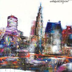 """""""City Life"""" 150 x 150 cm. By Erik Zwezerijnen. www.erikzwezerijnen.com Robot Painting, Skyscrapers, City Life, Houses, Abstract, Artwork, Inspiration, Kunst, Homes"""