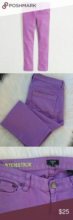 """J.Crew   Matchstick Crop Purple Jeans 8.5"""" rise, 25.5"""" inseam, 99% cotton/1% spandex. Great, gently used condition. J. Crew Factory Jeans"""