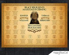 Game Of Thrones - Wedding Seating Chart -25% SALE!! Reception Template Seating Chart -Digital file- Customizable Game Of Thrones Design