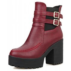 Women's Fashion Vintage Retro Buckles Bungee Platform High Heel Short Boots ** To view further for this item, visit the image link. (This is an affiliate link) #AnkleBootie