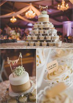 Shabby chic cupcake wedding cake