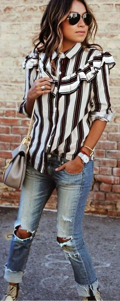 #sincerelyjules #spring #summer #besties | Ruffled Stripe Shirt + Ripped Denim