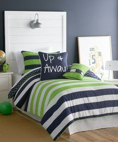 Take a look at this Blue  Green Up  Away Comforter Set by Victoria Classics on #zulily today!