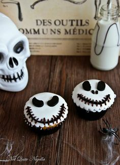 holiday, skellington cupcak, delici halloween, food, hallow eve, halloween cupcakes, halloween treats, cupcakes with skulls, jack skellington