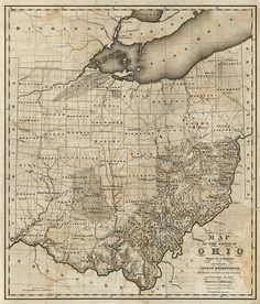Ohio Map, State Map, Vintage Wall Art, Vintage Walls, County Line, Canon Ink, Old Wall, Wall Maps, Antique Maps