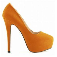 SCARPIN CAMURÇA LARANJA - Scarpin de couro ecológico em camurça. Salto de 14m e meia pata de 4cm. Sapatos Importados. Tamanhos 33 ao 40. Valor R$ 339,00