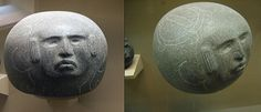 The American Museum of Natural History, by Barbara Steinberg | Ethnic Jewels Magazine  Objects 7 & 8: The face of this large, spherical sculpture is that of the Maize God Homshuk. Mesoamerican civilizations such as the Olmec usually carved the faces of maize gods atop turtle shells. However in this piece, two large glyphlike turtles with corn on their shells grace the top of the stone, while Homshuk protrudes from one side. The artist might have chosen a round stone because Homshuk was born…