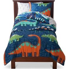 Shop Dinosaur Bedding for boys. Colorful dinosaur themed bedding sets including dinosaur twin bedding, dinosaur sheet sets and matching dinosaur room decor. Mens Bedding Sets, Kids Comforter Sets, Teen Bedding, Dinosaur Bedding, Dinosaur Bedroom, E Room, Bedding Collections, Bed Spreads, Comforters
