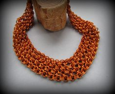 Thundra - Chain Mail Choker in Coppery Orange Anodized Aluminum - Renfaire SCA Jewelry Cosplay Feminist Superhero Sci-Fi Modern by Chilirose on Etsy