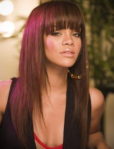 Rihanna Long Hairstyles: Lovely Layered Haircut with Blunt Bangs