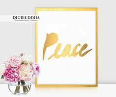 Peace GOLD FOIL PRINT 8x10 or 5x7 Brush Stroke Peace Script Art Print Poster Wall Art Gold Metallic Contemporary Modern print available at digibuddha.com