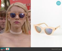Chanel's nude sunglasses on Scream Queens.  Outfit Details: http://wornontv.net/54766/ #ScreamQueens