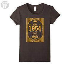 Womens 63th Yearsold Birthday Vintage since 1954 Ideas remix Large Asphalt - Birthday shirts (*Amazon Partner-Link)