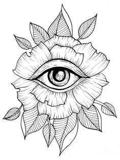 Flower Eye Tattoo Line Art Flash Art Leaves Leaf Geometric . - Tattoos of Hannah Tattoo Sketches, Tattoo Drawings, Drawing Sketches, Art Drawings, Tattoo Ink, Drawing Art, Trippy Drawings, Small Drawings, Lion Tattoo