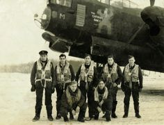 A new photograph of the Bailey crew, taken prior to their 100th Op in NE181 JN-M 'The Captains Fancy' on the 29th January 1945, to Krefeld. L to R (back row), Jack Brewster (Nav), Norman Bartlett (F/E), Jack Bailey (Pilot), Jack Wall (A/B), Dick Pickup (W/Op). (front row) Roy Corfield (R/Gnr), Tony Gregory (MUG). Picture supplied by Tony Pickup ©